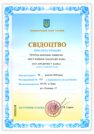Certificate of registration in the State register of banks
