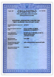 Certificate about registration of the legal entity